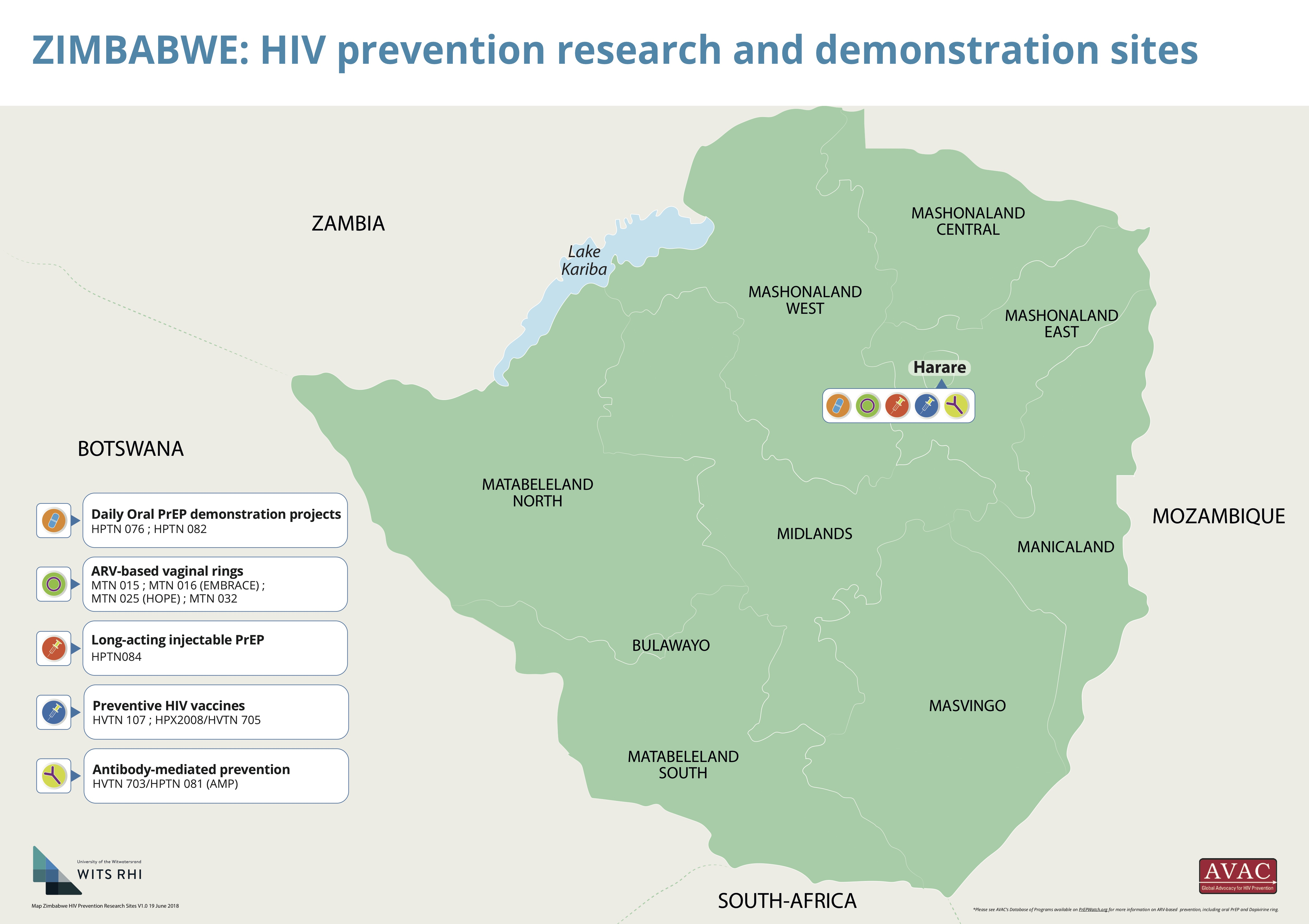 Lake Kariba Africa Map.Map Of Hiv Prevention Research And Prep Demonstration Sites In