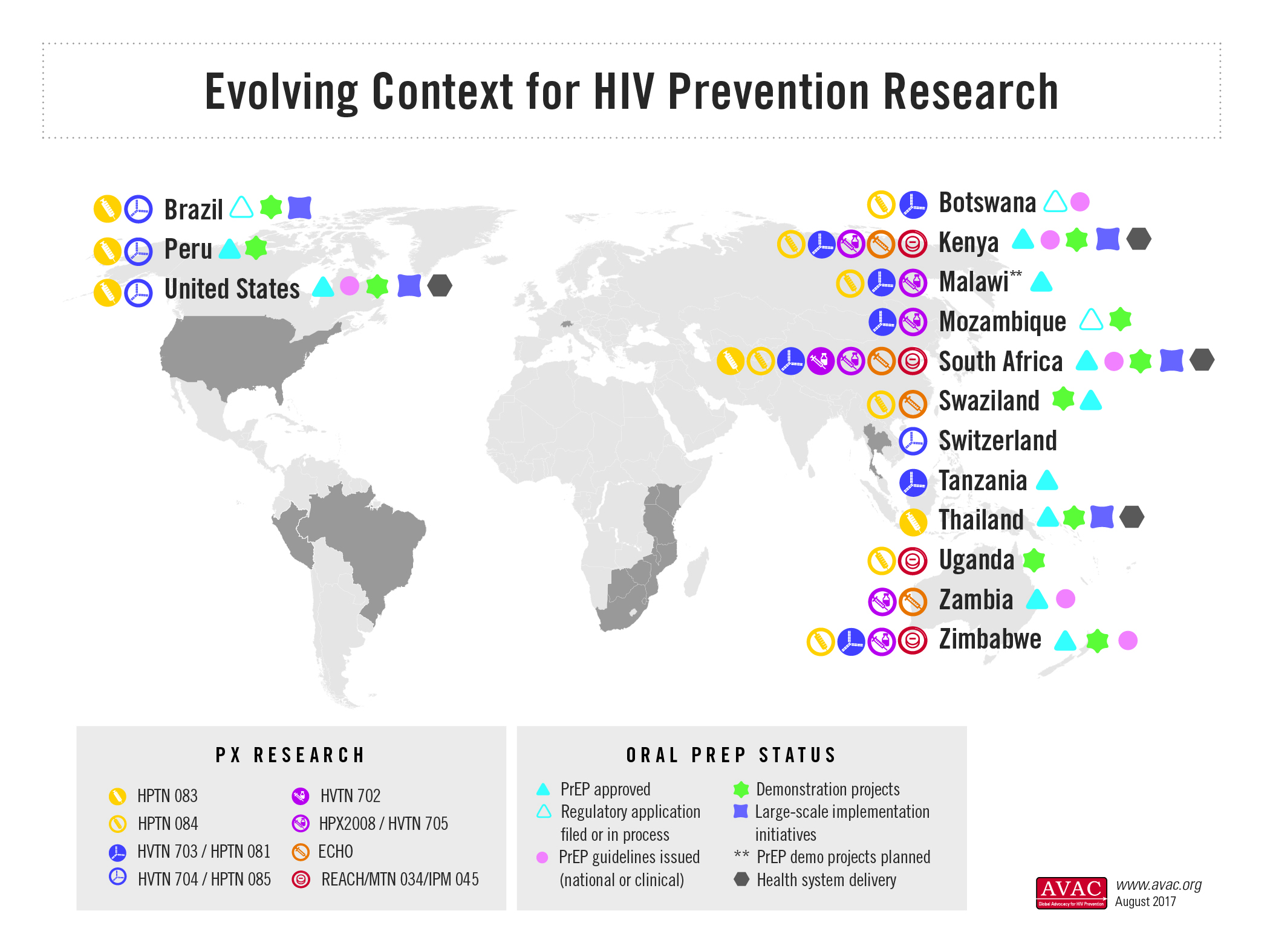 Evolving Context For HIV Prevention Research Map AVAC - Hiv us map