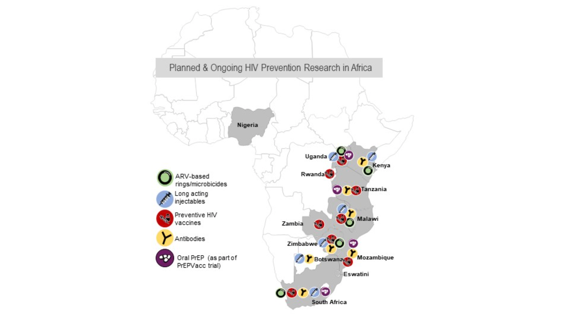 map of planned and ongoing HIV prevention research in Africa